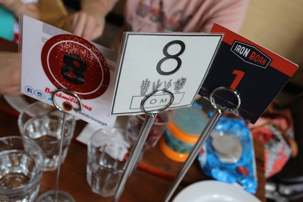 various numbered signs on a table