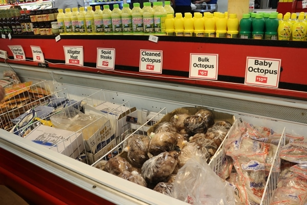 a display of seafood in a supermarket