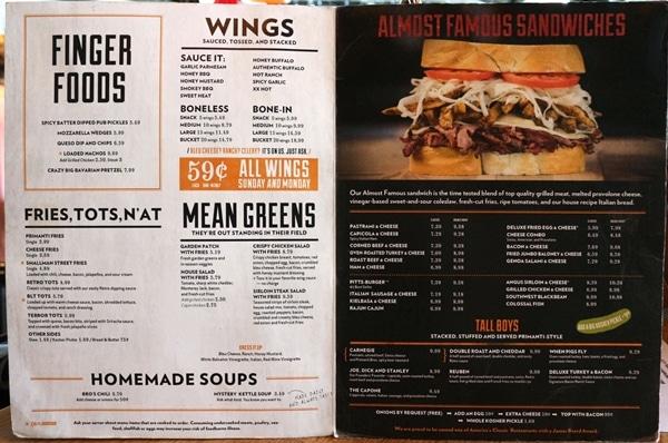 A close up of a restaurant menu