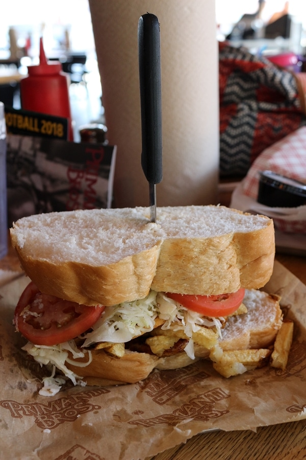 A sandwich stuffed with french fries