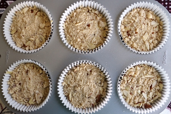 muffin batter topped with streusel in a jumbo muffin pan