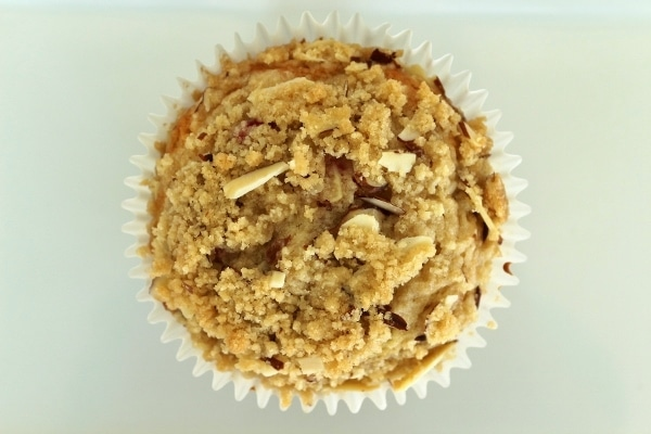 overhead view of a baked muffin