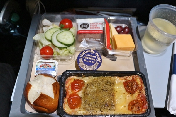 an airplane meal of baked pasta