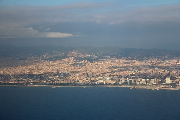 A view of Barcelona from an airplane window