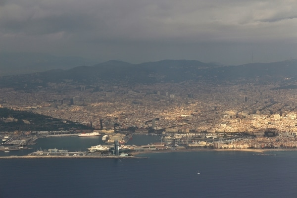 A view of Barcelona from the air