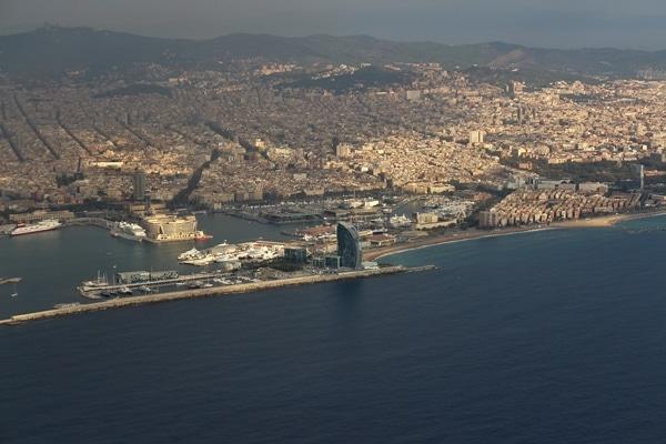 Barcelona from an airplane window