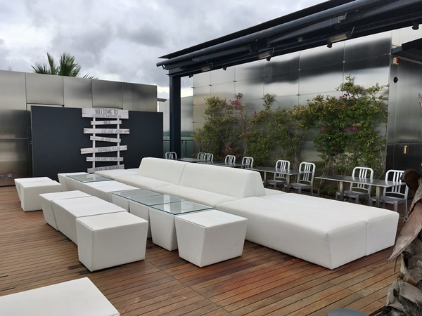 an outdoor lounge area