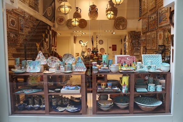 window display in a ceramics shop