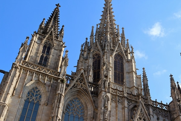 closeup of Barcelona Cathedral