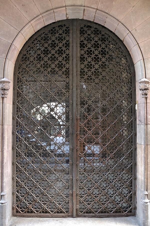 a metal grate over a door