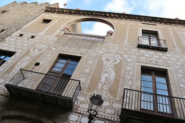 a fresco covered stone building