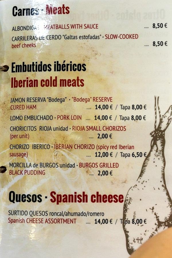 a page of a restaurant menu