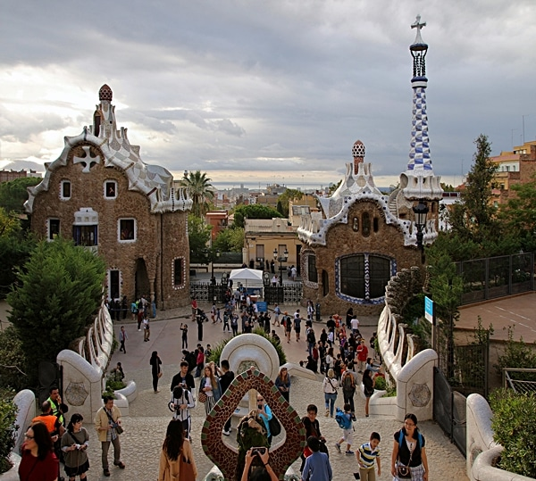 a wide view of a crowd in Park Güell