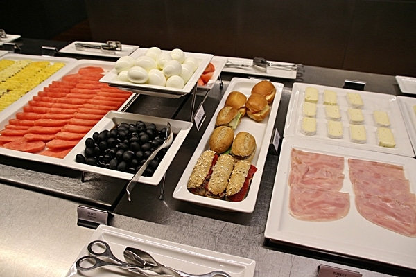 cold buffet items such as hard-boiled eggs and olives