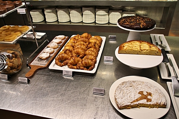 a variety of pastries at a buffet
