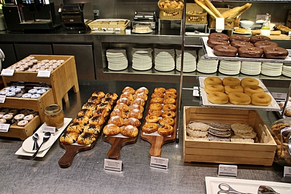 various pastries on a buffet line