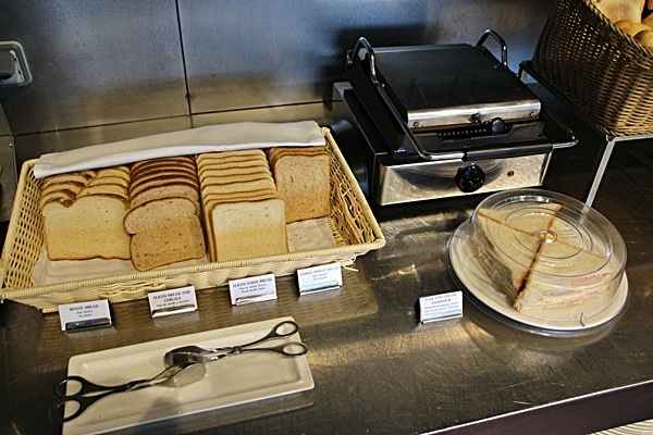 sliced breads next to a griddle