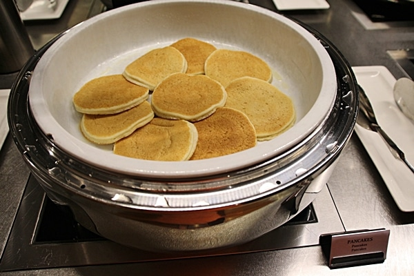 pancakes on a buffet line