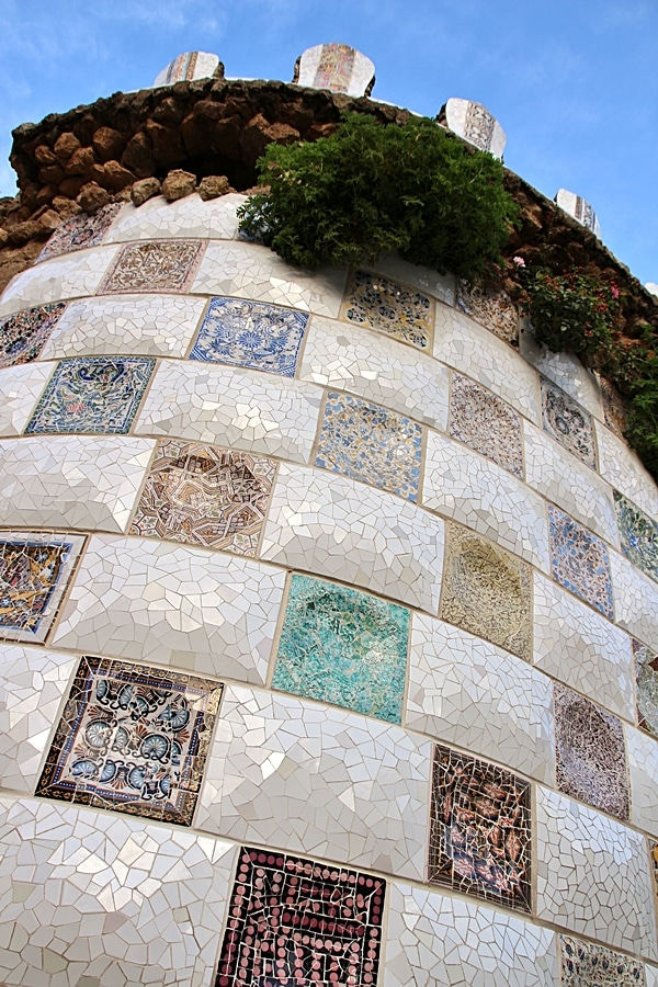 a mosaic covered wall