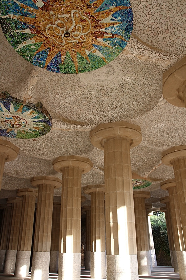 large columns holding up a mosaic ceiling