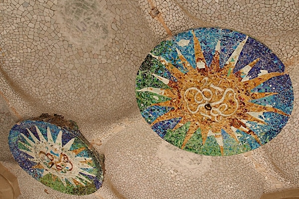 a colorful mosaic ceiling