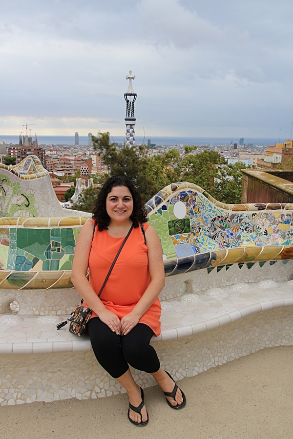 A woman posing for a picture in Park Güell
