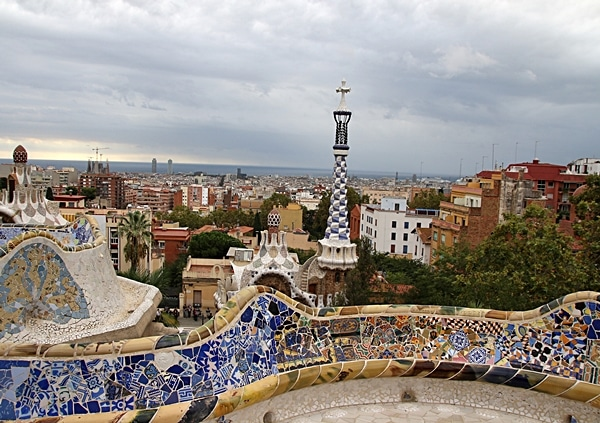 A mosaic covered bench overlooking Barcelona