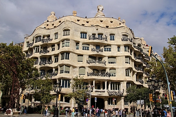 view from across the street of Casa Milà