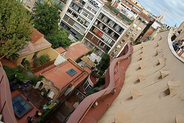 An aerial view of Barcelona from the roof of Casa Milà
