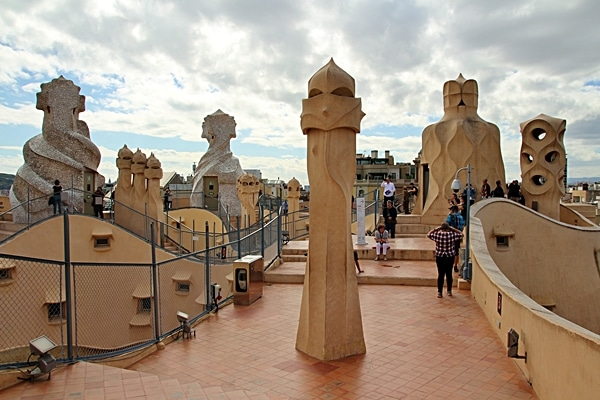view of the rooftop of Casa Milà
