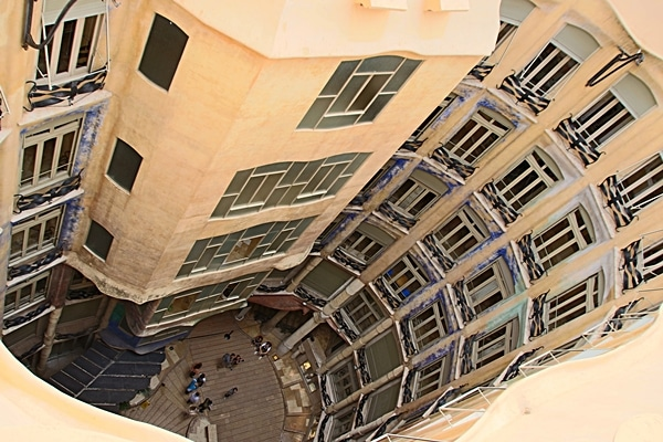 view looking down into a courtyard from the Casa Milà roof