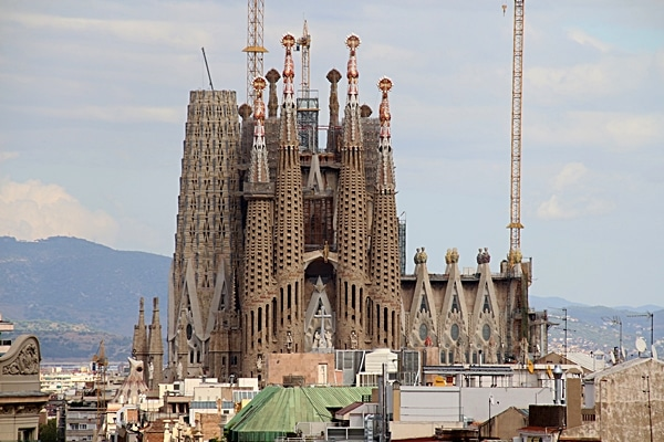 view of Sagrada Familia from a rooftop