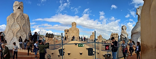 panoramic view of the Casa Milà rooftop