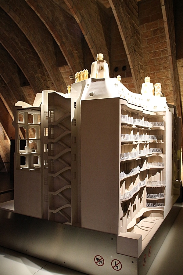 side angle of a model of Casa Milà
