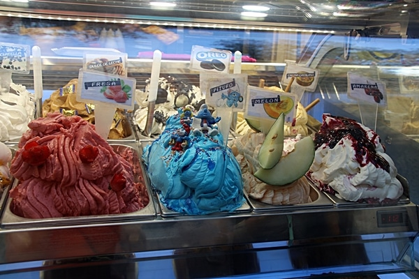 a display of gelato