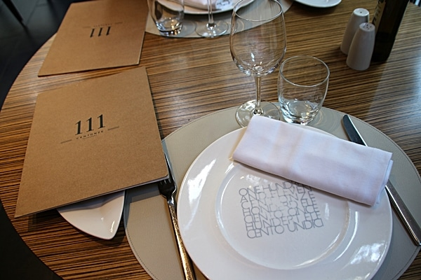 a table setting in a restaurant