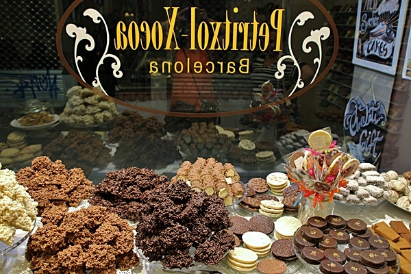 a store window display of various items made of chocolate