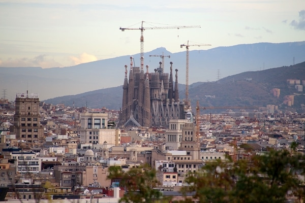 distant view of Sagrada Familia in Barcelona