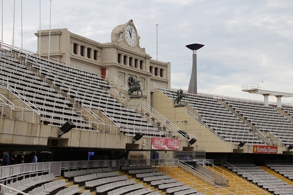 the stands inside the Barcelona Olympic stadium