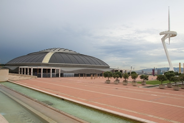 a building and tower inside the Barcelona Olympic complex