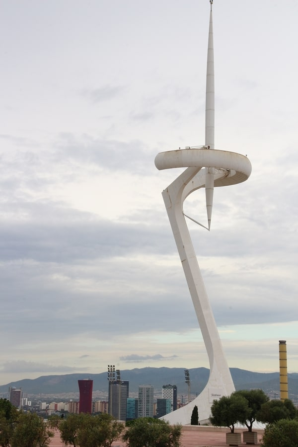 a tall white communications tower