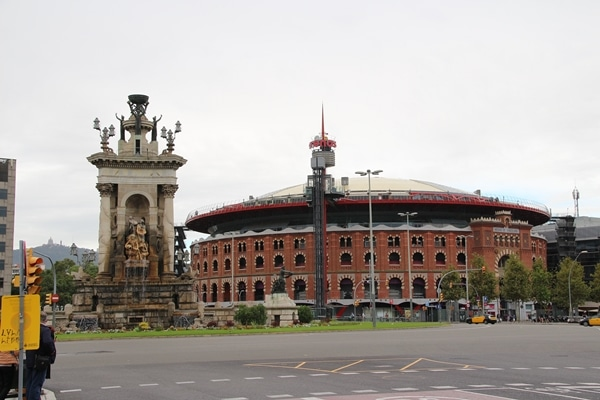 a huge brick arena across a city square