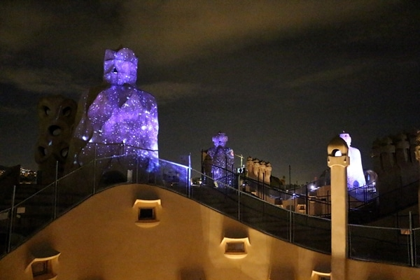 a nighttime light show on the roof of La Pedrera
