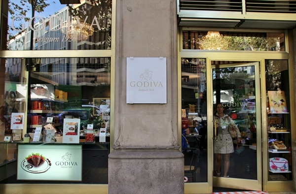 exterior of the Godiva store in Barcelona