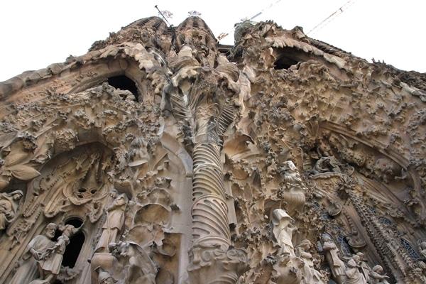 closeup view looking up at Sagrada Familia exterior