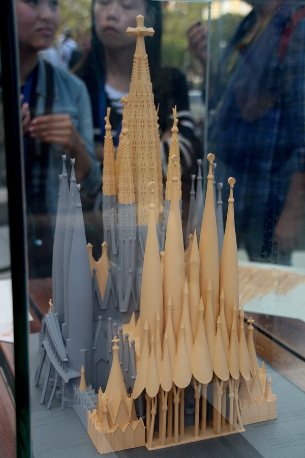 a model of Sagrada Familia showing parts still to be constructed
