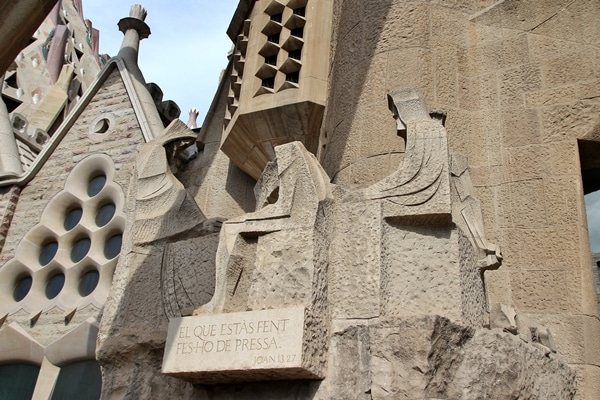 cubist stone statues outside Sagrada Familia