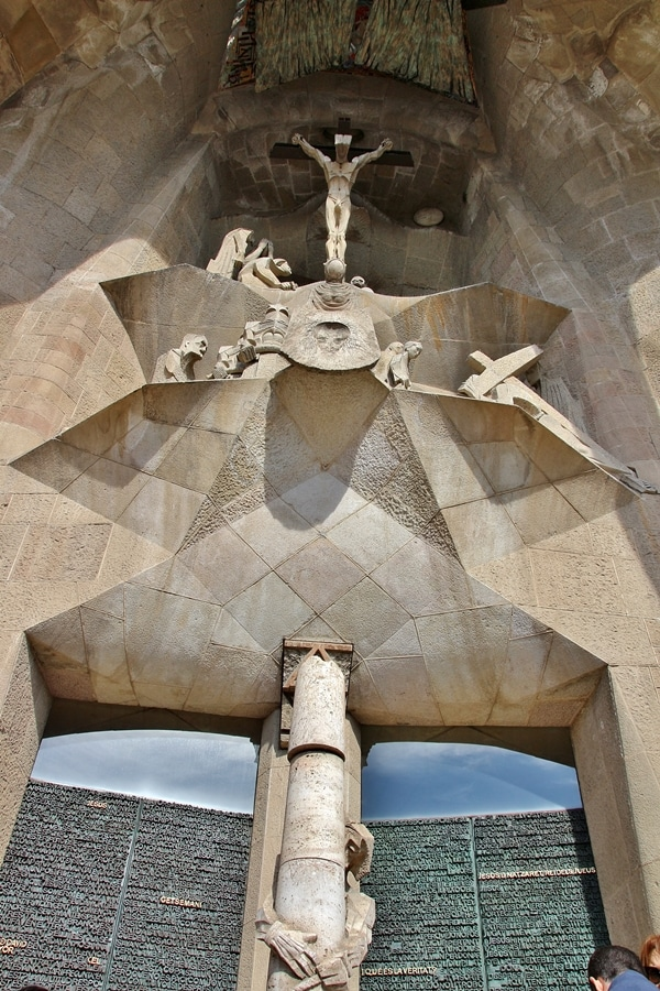 cubist depiction of Christ\'s crucifixion outside Sagrada Familia