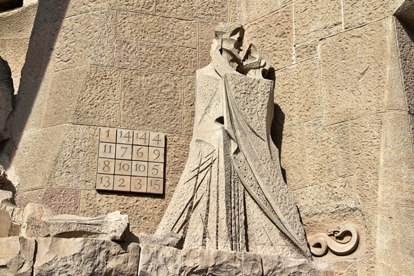 a cubist sculpture outside Sagrada Familia church