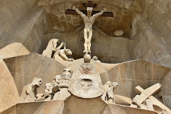 closeup of cubist depiction of Christ\'s crucifixion